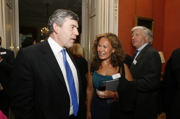 Indra with Gordon Brown at 10 Downing St launch of Horse's Mouth, 2007